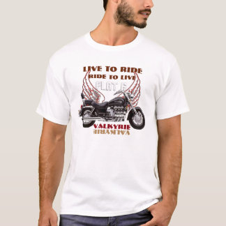 Live To Ride Flate 6 Valkyrie motorcycle design T-Shirt