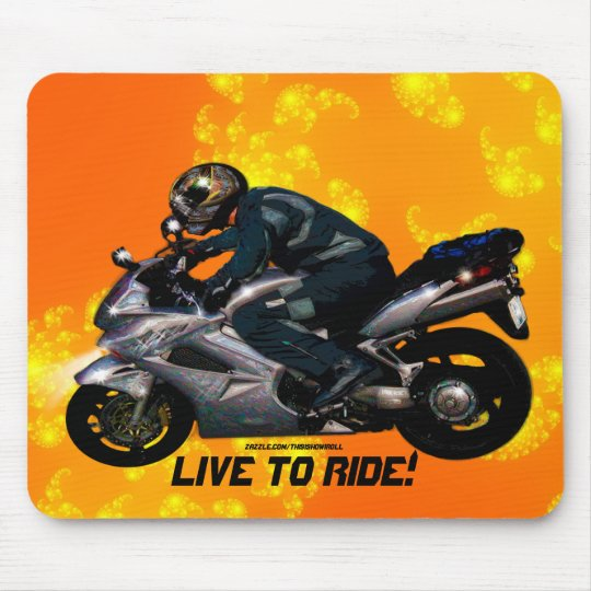 Live To Ride Motorbiker Mouse Pad