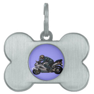 Live To Ride Motorbiker Pet Name Tags