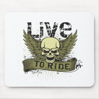 Live To Ride Skull With Wings Mouse Pad