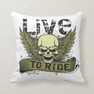Live To Ride Skull With Wings Throw Pillow