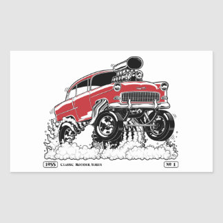 LIVE TO ROD! 55 Gasser Rectangular Sticker