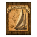 Live To Sail Postcard