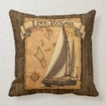 Live To Sail Throw Pillows