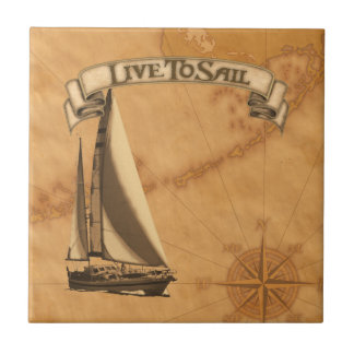 Live To Sail Small Square Tile
