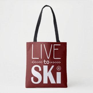 Live to Ski bag - maroon