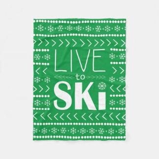 Live to Ski blanket - green