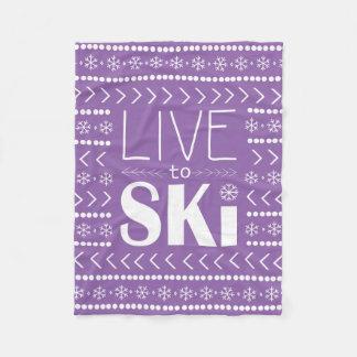 Live to Ski blanket - purple