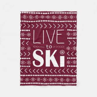 Live to Ski blanket - red