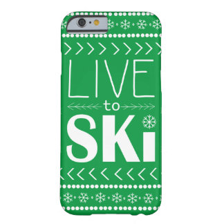 Live to Ski phone case - green
