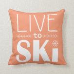 Live to Ski pillow - orange
