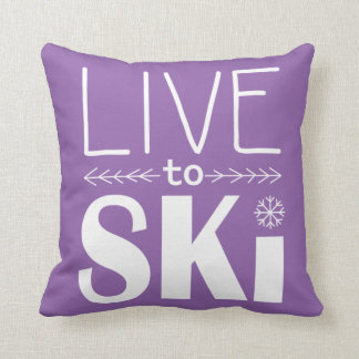 Live to Ski pillow - purple