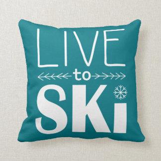 Live to Ski pillow - teal