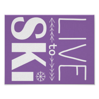 Live to Ski poster (basic) - purple