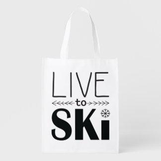 Live to Ski reusable bag Market Tote