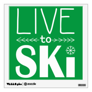 Live to Ski wall decal - green