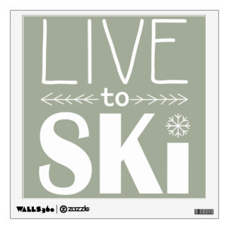 Live to Ski wall decal - olive