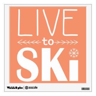 Live to Ski wall decal - orange