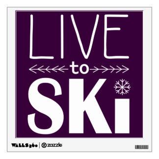 Live to Ski wall decal - plum