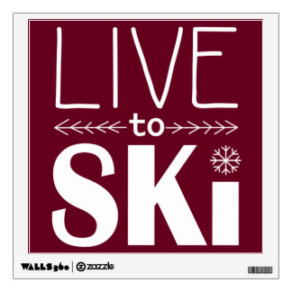 Live to Ski wall decal - red