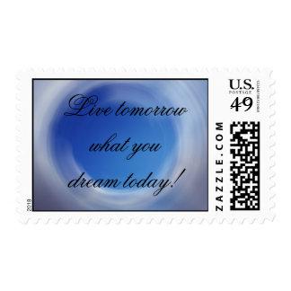 Live tomorrow postage stamp