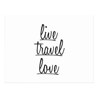 """Live, Travel, Love"" Typography in Black Postcard"