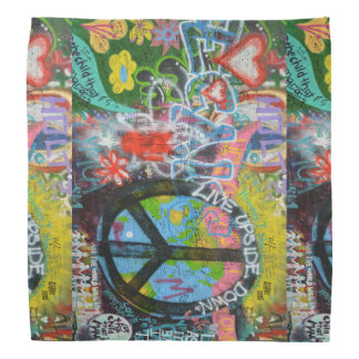 Live Upside Down Peace Sign Wall Bandana
