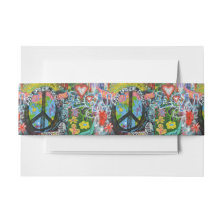 Live Upside Down Peace Sign Wall Invitation Belly Band