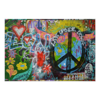 Live Upside Down Peace Sign Wall Print