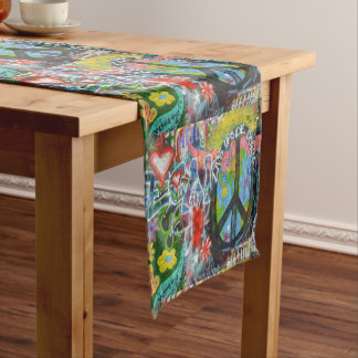 Live Upside Down Peace Sign Wall Short Table Runner