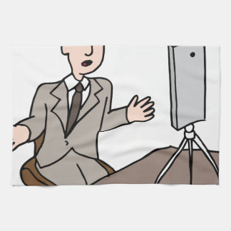 Live video businessman hand towel