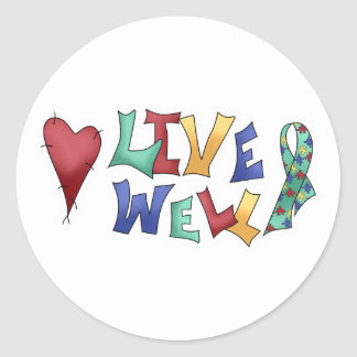 Live Well Autism Awarness Design Stickers