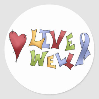 Live Well (Blue Awareness Ribbon) Classic Round Sticker
