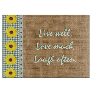 Live well cutting board gingham and burlap