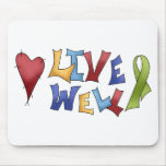 Live Well- Green Ribbon Mouse Pads
