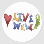 Live Well- Green Ribbon Round Sticker