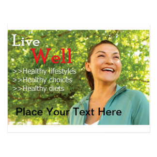 Live Well Healthy Living Postcard