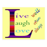 Live Well, Laugh Often, Love Always Post Cards