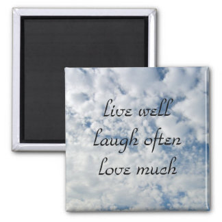 live well laugh often love much 2 inch square magnet