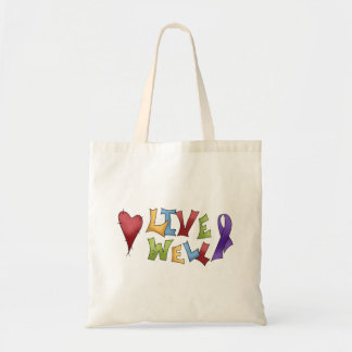 Live Well- Purple Awareness Ribbon Tote Bags