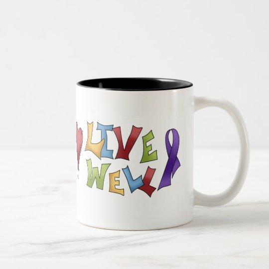 Live Well- Purple Awareness Ribbon Two-Tone Coffee Mug