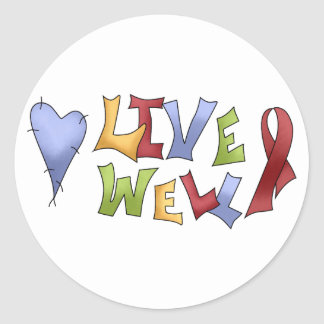 Live Well- Red Awareness Ribbon Classic Round Sticker