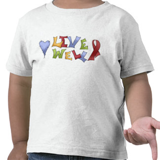 Live Well- Red Awareness Ribbon Tee Shirt