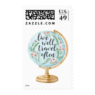 Live Well, Travel Often Postage