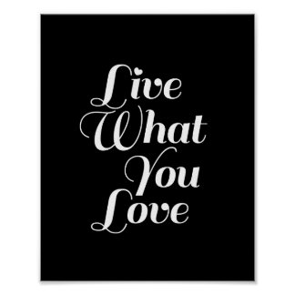 Live What - Typography Quote Print in Black