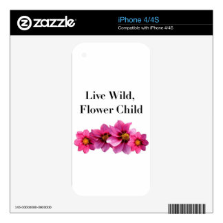 Live Wild Flower Child Decal For The iPhone 4