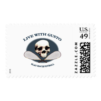 Live With Gusto Racquetball Postage Stamp
