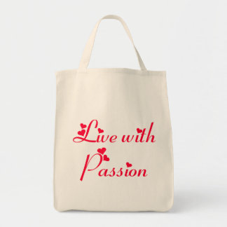 Live With Passion Hearts Motivational Grocer  Tote Canvas Bags