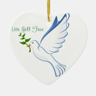 Live Yell Free Double-Sided Heart Ceramic Christmas Ornament