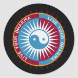Live Your Dharma Round Stickers
